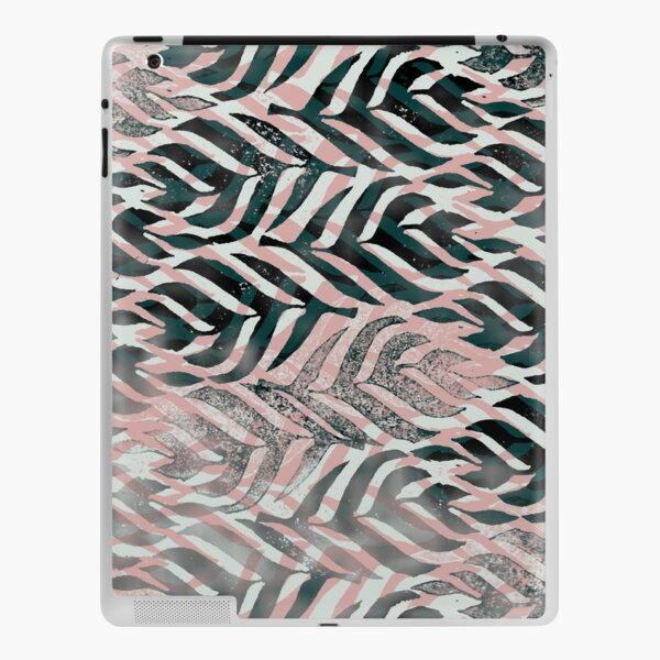 Simple Ombre Green Pink Tropical Curving Leaves Textured Stamp Pattern iPad Skin