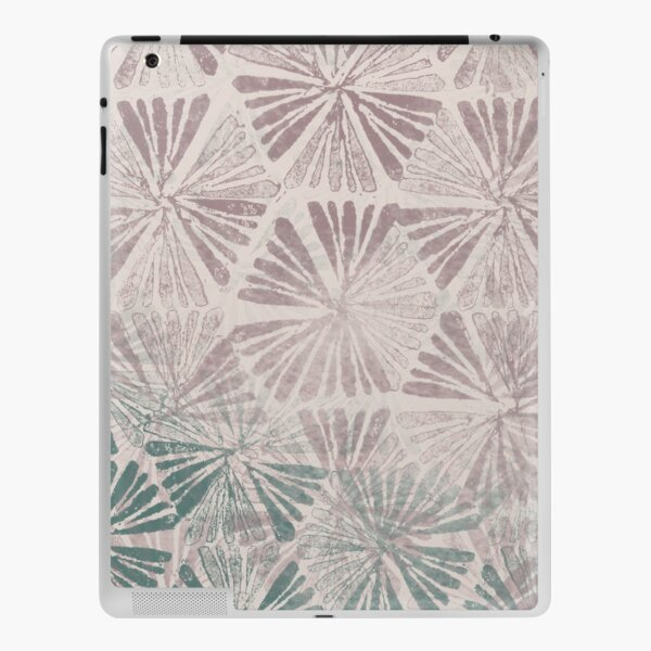 Simple Ombre Green Purple Spring Daisy Fields Textured Stamp Pattern iPad Skin