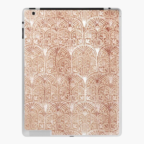 Simple Ombre Maroon White Deco Arches Textured Stamp Pattern iPad Skin