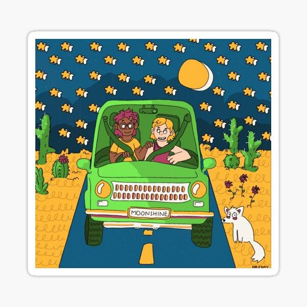 Moonlit Drive in the Desert Sticker
