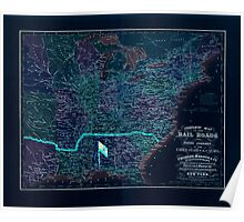Civil War Maps 0323 Complete map of the rail roads and water courses in the United Staes Canada Inverted Poster