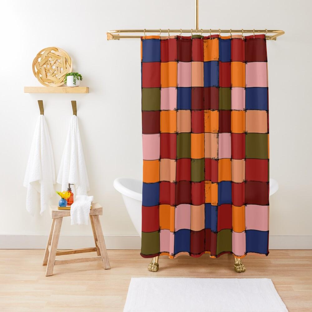 Winter Checkboard Shower Curtain