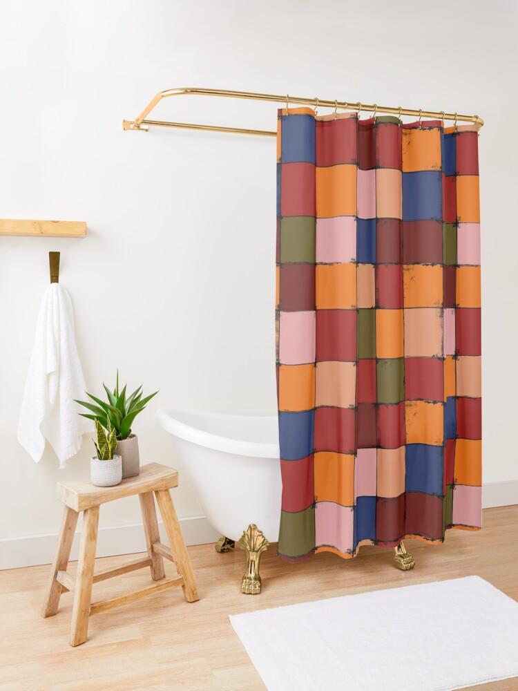Alternate view of Winter Checkboard Shower Curtain