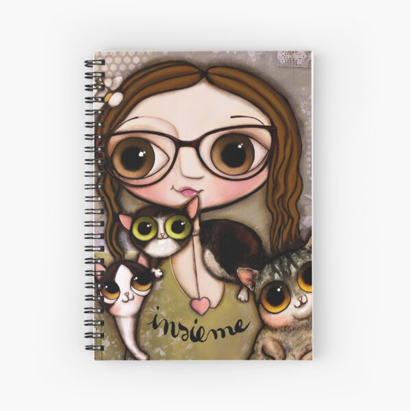 The girl with three cats Spiral Notebook