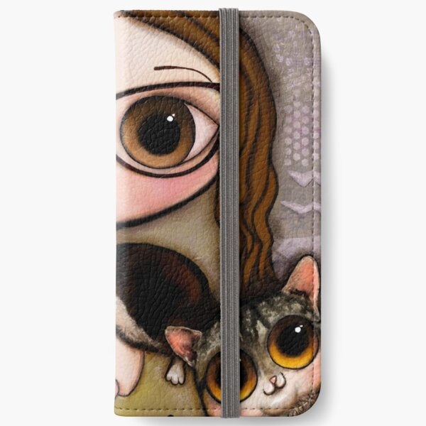 The girl with three cats iPhone Wallet