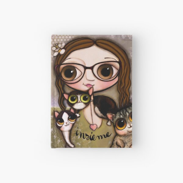 The girl with three cats Hardcover Journal
