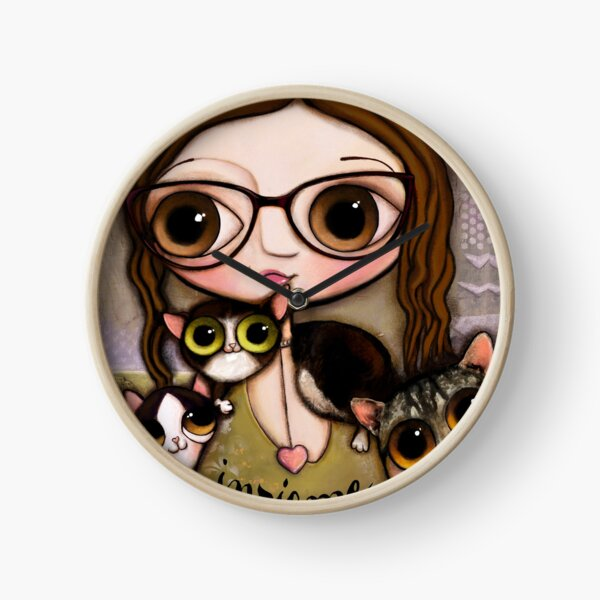 The girl with three cats Clock