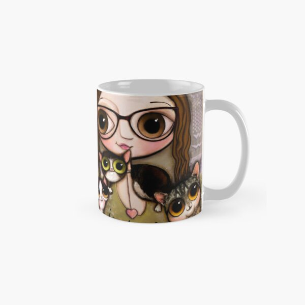 The girl with three cats Classic Mug