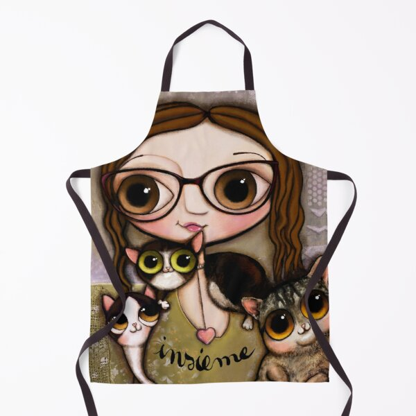 The girl with three cats Apron