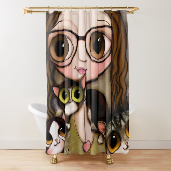 The girl with three cats Shower Curtain