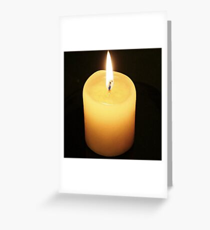 Candle On Black Background Greeting Card
