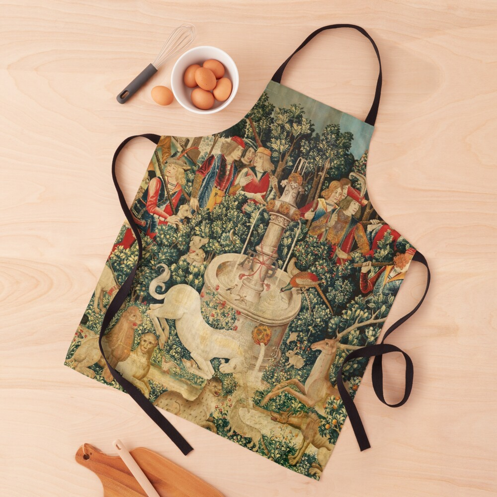 UNICORN IS FOUND / Fountain,Other Animals,Green Floral Apron