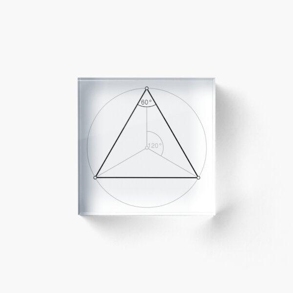 Regular triangle,  polygon, Dihedral, angle, Dual polygon, Convex, cyclic, equilateral, isogonal, isotoxal Acrylic Block