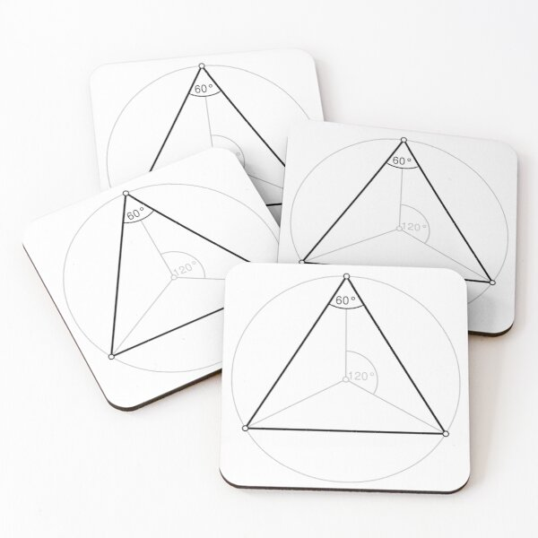 Regular triangle,  polygon, Dihedral, angle, Dual polygon, Convex, cyclic, equilateral, isogonal, isotoxal Coasters (Set of 4)