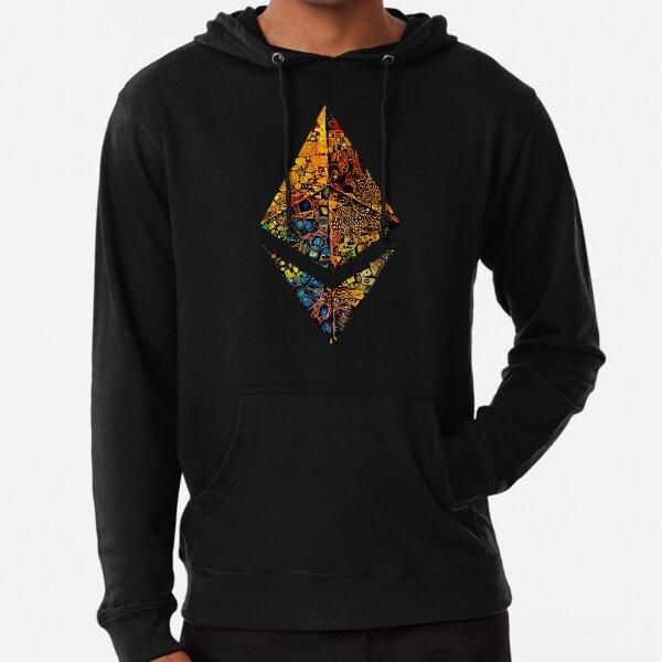 """Gold leafed"" ETH crypto, Etherium logo.  Lightweight Hoodie"