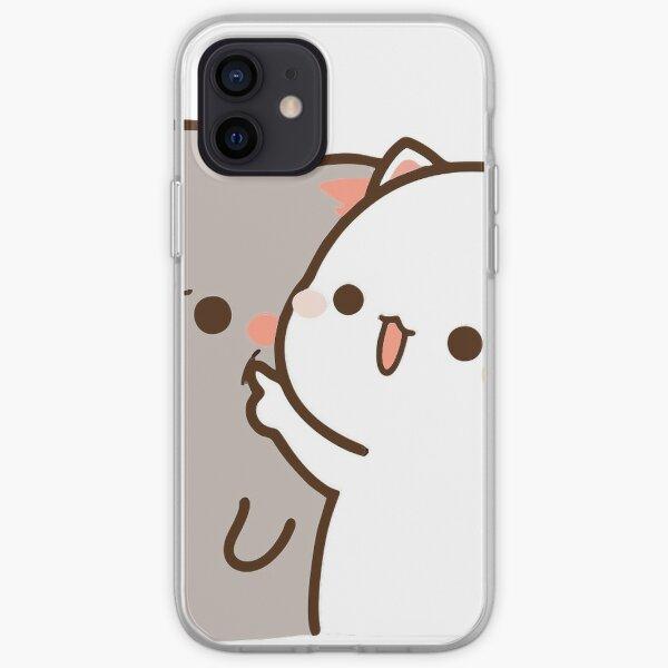 Peach y Goma Mochi Cat adoran las burlas Funda blanda para iPhone