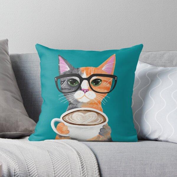 Kitten's Latte of Love Throw Pillow