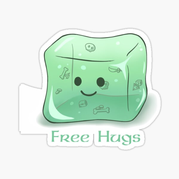 Gelatinous Cube Free Hugs Sticker