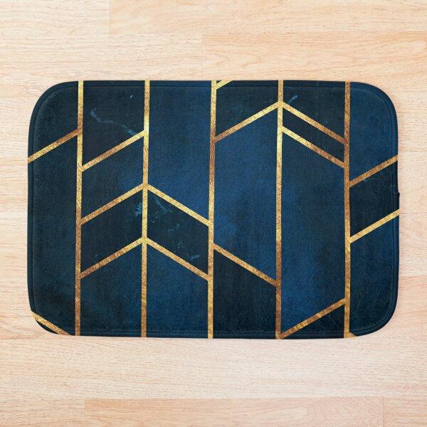 Navy Gold Stone Geometric Bath Mat