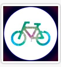 Glowing neon bicycle sign.  Sticker