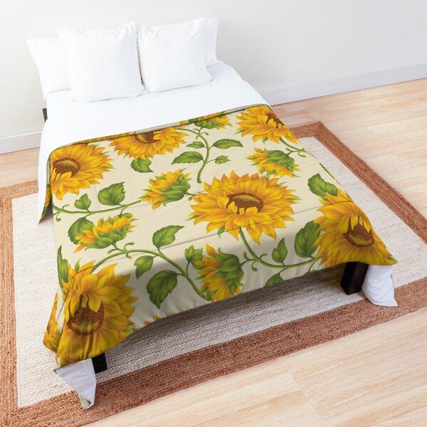 Printed Sunflower Field, Summer Sundress, Cream Background Comforter