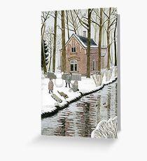 Children Building A Snowman Greeting Card