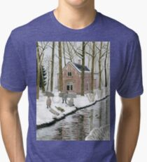 Children Building A Snowman Tri-blend T-Shirt