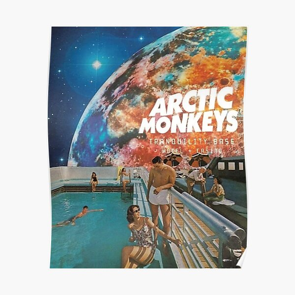 Swim Monkeys Space Poster