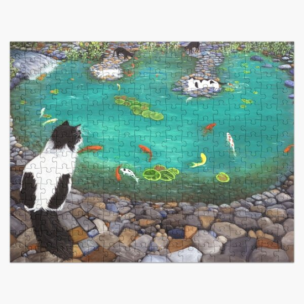 Tuxedo Cat watching family at the koi pond. Jigsaw Puzzle