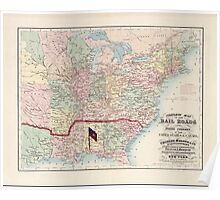 Civil War Maps 0323 Complete map of the rail roads and water courses in the United Staes Canada Poster