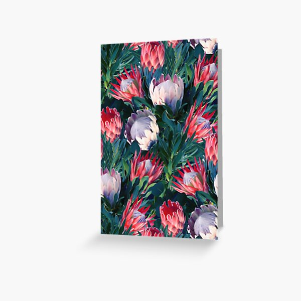 Lush Protea Botanical with Blue Green Leaves Greeting Card