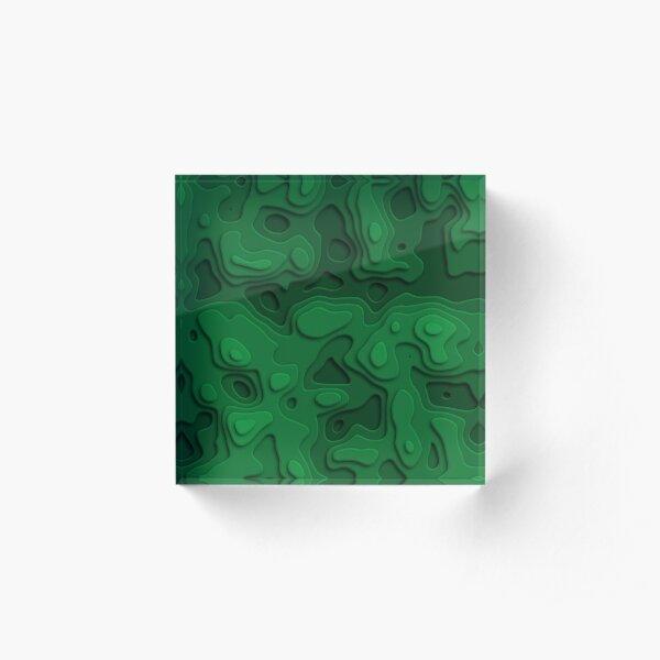 Green Jungle Sea Acrylic Block