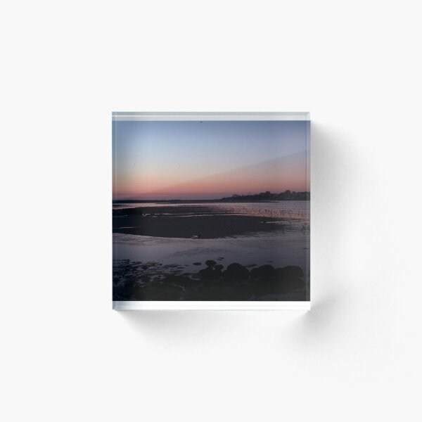Sunset at mouth of Douro River Acrylic Block