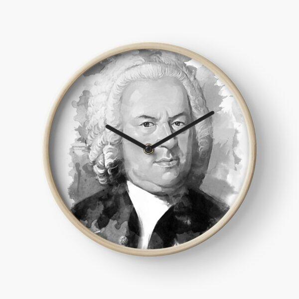 Johann Sebastian Bach in schwarz weiß  Uhr