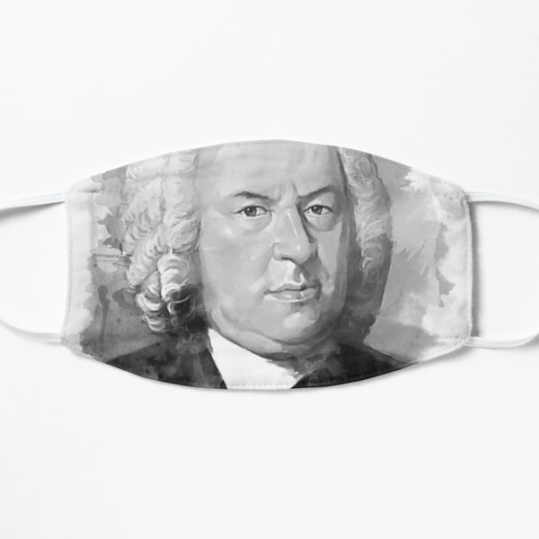 Johann Sebastian Bach in schwarz weiß  Maske