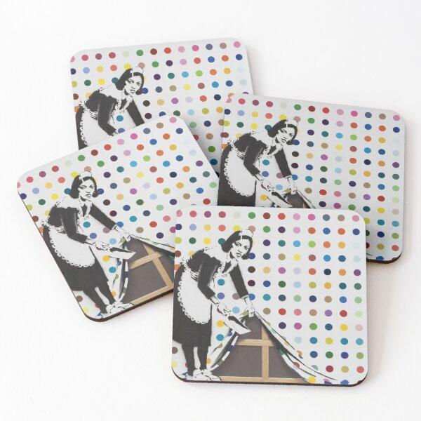 BANKSY Damien Hirst  KEEP IT SPOTLESS Coasters (Set of 4)