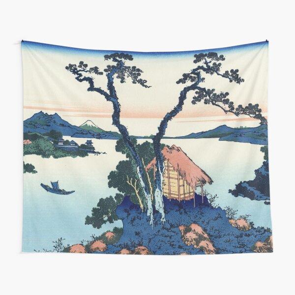 """Japanese Woodblock Print Ukiyo-e - """"A View of Mount Fuji Across Lake Suwa / 信州諏訪湖"""" by Hokusai Tapestry"""