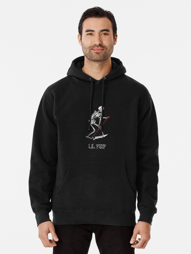 Alternate view of Lil peep Skeleton Grim reaper tattoo and official design Pullover Hoodie
