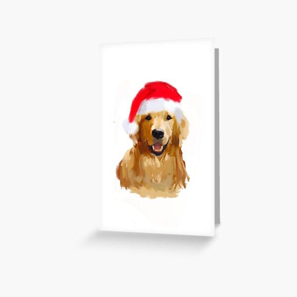 Golden Retriever Santa Hat Dog original digital painting Greeting Card