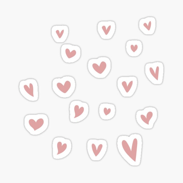 Dusty Pink and Gray Heart Doodle Pattern Sticker