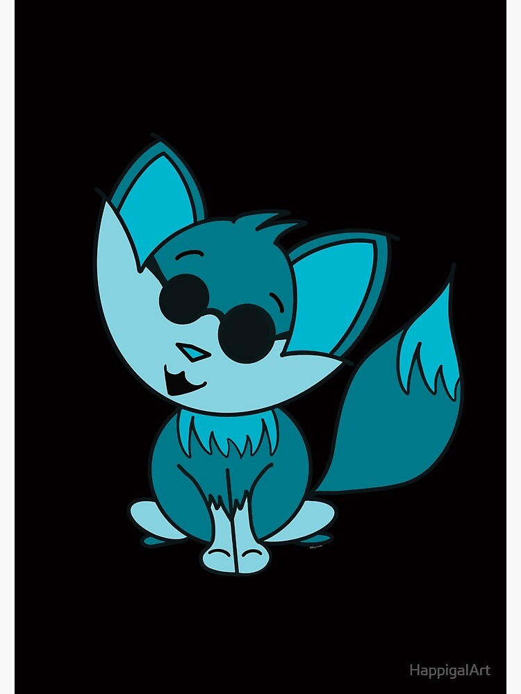 Cute Cool Fox Baby Teal by HappigalArt