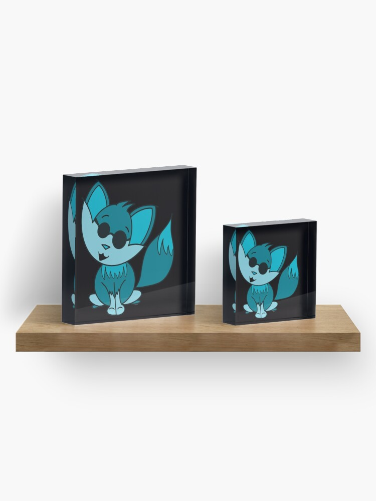 Alternate view of Cute Cool Fox Baby Teal Acrylic Block