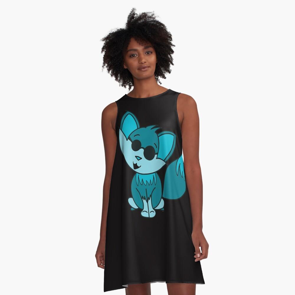 Cute Cool Fox Baby Teal A-Line Dress