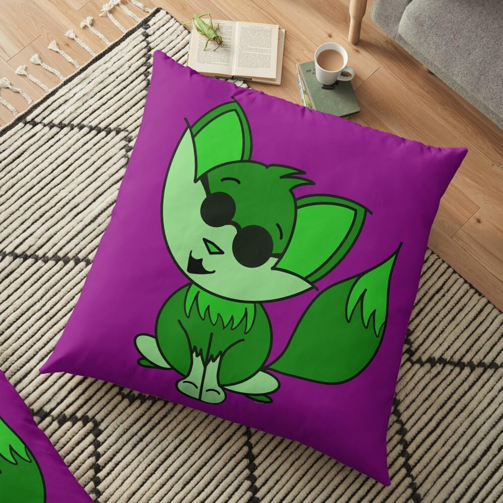 Cute Cool Fox Baby Green Floor Pillow