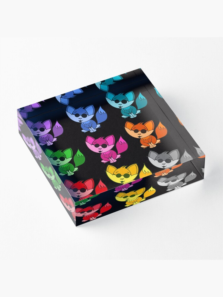 Alternate view of Cute Cool Foxes Babies Rainbow Multi Acrylic Block