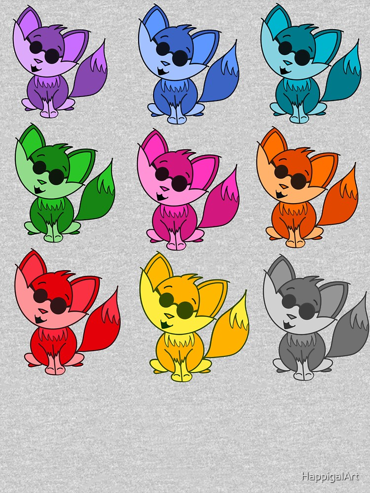 Cute Cool Foxes Babies Rainbow Multi by HappigalArt
