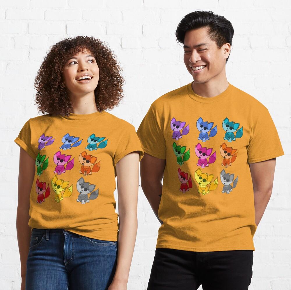 Cute Cool Foxes Babies Rainbow Multi Classic T-Shirt