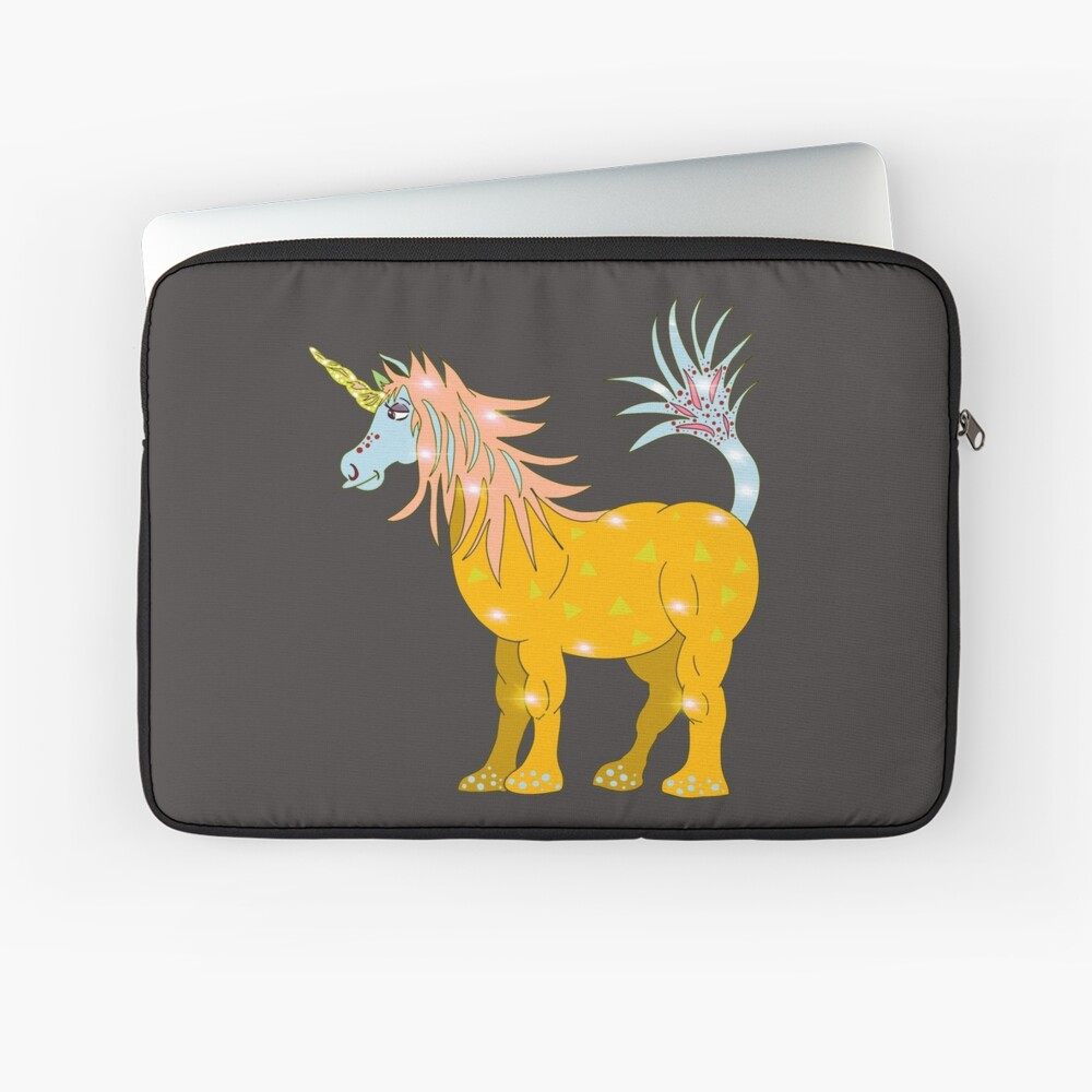 Mystical Magical Unicorn Yellow Laptop Sleeve
