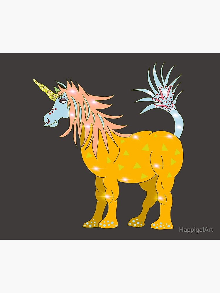 Mystical Magical Unicorn Yellow by HappigalArt