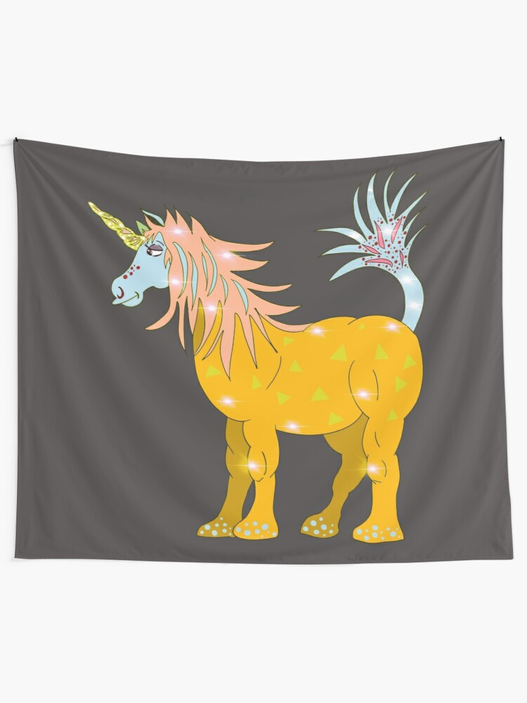 Alternate view of Mystical Magical Unicorn Yellow Tapestry